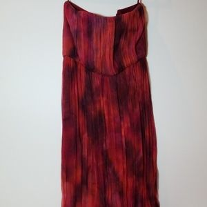 Red floor-length Alice and Olivia strapless maxi